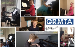 ORMTA stuent montage of images and logo - 8 different students at pianos
